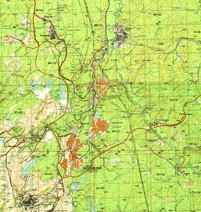 Бумажная карта Березовского Кемеровской области с улицами
